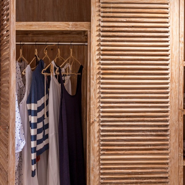 Rustic design wardrobe in one of the trendy rooms & suites at Hippie Chic luxury Hotel in Mykonos