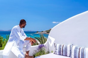 Many of the rooms & suites at Hippie Chic Hotel in Mykonos have private sea view balconies
