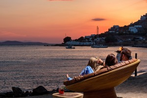 The beach chairs on Agios Ioannis beach at Hippie Chic Hotel Mykonos are ideal for romantic moments