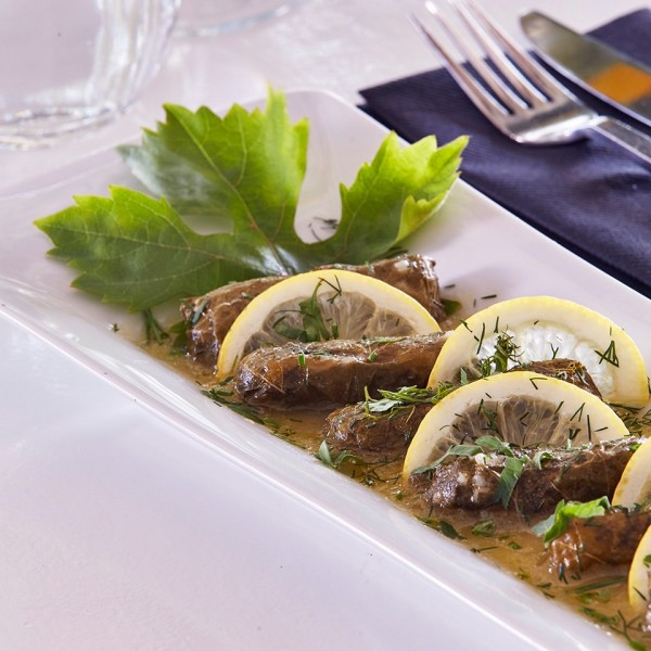 Hippie Chic Hotel restaurant traditional Greek cuisine dish of dolmadakia stuffed vine leaves