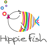 The logo for the Hippie Fish Restaurant, a gourmet restaurant at Agios Ioannis beach in Mykonos