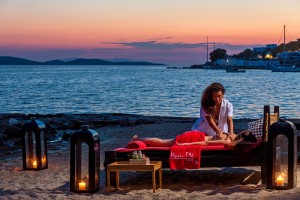 The Hippie Chic Mykonos Hotel beach in Agios Ioannis is a great spot for a relaxing beach massage