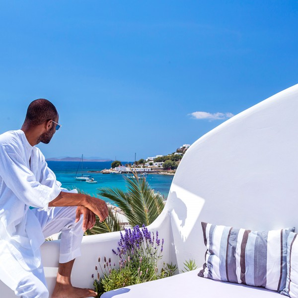 View of the sea & Agios Ioannis beach from Hippie Chic Hotel Mykonos Superior Room private veranda