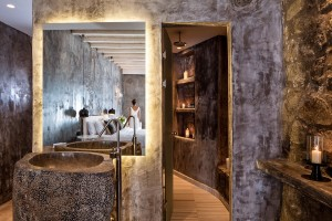 Luxury bathroom with washbasin & candles in Euphoria Exclusive Suite at Hippie Chic Hotel in Mykonos