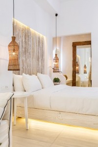 Minimalist design decor in the Classic Room bedroom with king size bed at Hippie Chic Hotel, Mykonos