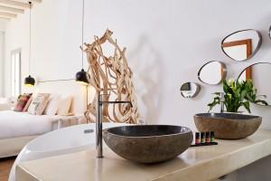 Hippie Chic Suite has many luxury amenities, like twin washbasins, Apivita toiletries & a Jacuzzi