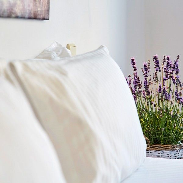 Lavender plant beside pillows on the bed in the Superior Room with Sea View in Mykonos