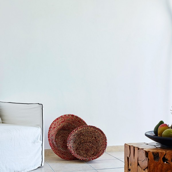 Chair, bowl of fruit & decorations in minimalist Cycladic design Junior Suite at Hippie Chic Hotel