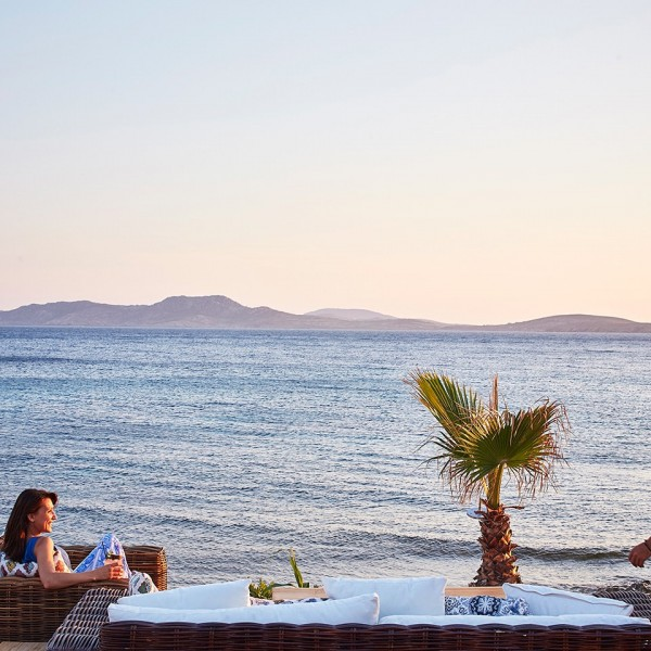 Hippie Chic Agios Ioannis Hotel beach in Mykonos is a great place to relax, with comfy seats & sofas